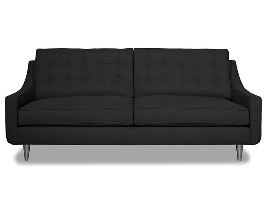 Apt2B.com - Cloverdale Sofa Coal Coal/Navy - This cozy sofa is as comfortable as it is sophisticated. With an unexpected pop of color in the button tufting and a nice deep seat it's a perfect place to cuddle up with your date.