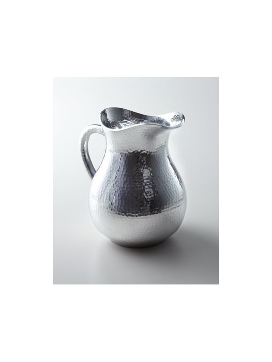 "Towle - Towle ""Hammered"" Pitcher - Adorn your table with the shimmering natural beauty of this hammered pitcher. Made of easy-to-clean, durable aluminum for a decorative accent sure to grace many settings. Made of metal alloy. Safe for warming or freezing. Hand wash. 9.25""T; holds ap..."