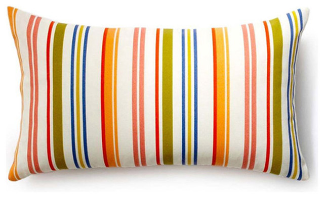 Modern Family Pillow Stripe : Rainbow Thin Stripes Outdoor Throw Pillow - Modern - Outdoor Cushions And Pillows - by Overstock.com