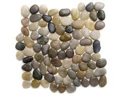 Polished Mixed River Pebble Tile modern-tile