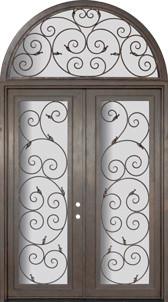 Orvieto 72x96 Wrought Iron Steel Double Door and Half Round Transom mediterranean-front-doors