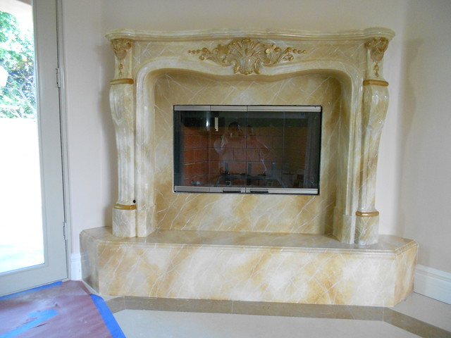 Faux marble fireplaces traditional indoor fireplaces for Faux marble fireplace mantels