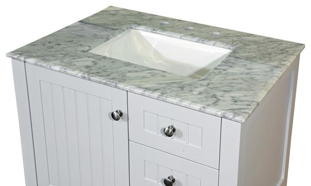 30 In White Carrara Marble Counter Top With Rectanglar Sink Contemporary
