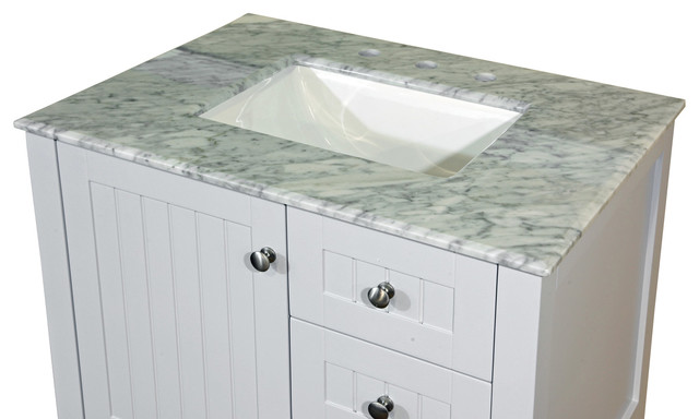 30 in. White carrara marble counter top with rectanglar sink contemporary-bathroom-vanities-and-sink-consoles