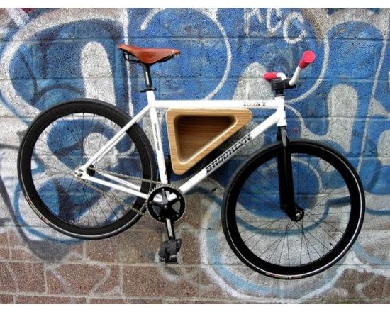 Wood Triangle Bike Rack - Love this contemporary, sleek bike rack. Perfect for storing a bike indoors.