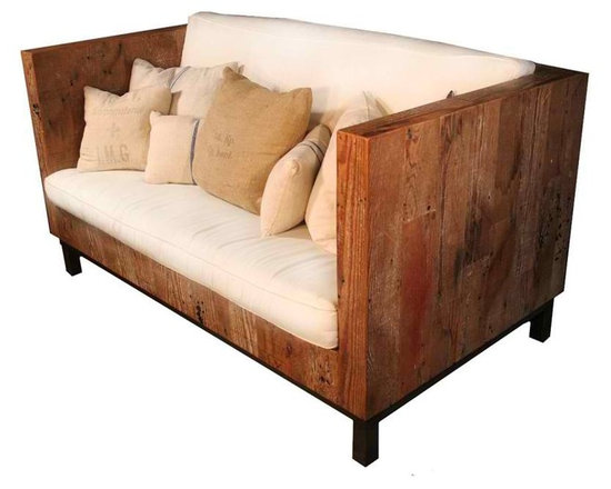 Smithfield Sofa - Part of our Smithfield line, crafted from Reclaimed Fir found here in Southern California.  The Smithfield sofa has a warm, rich patina and touches of the original paint finishes found in the fir.