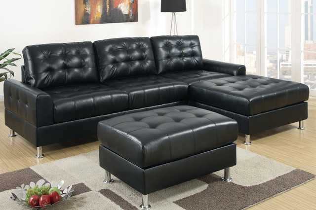 European Small Tufted Black Leather Sectional Sofa Reversible Chaise modern sectional sofas los angeles