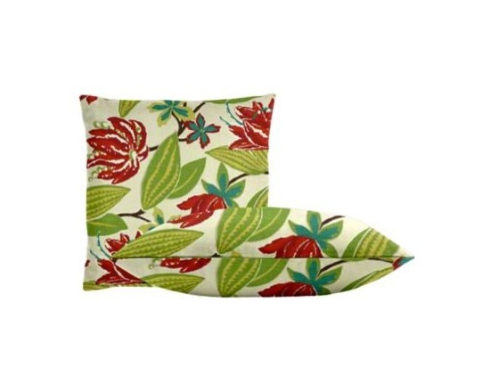 """Cushion Source - Bright Floral Fuchsia Throw Pillow Set - The Bright Floral Fuchsia Throw Pillow Set consists of two 18"""" x 18"""" throw pillows with a beautiful floral pattern in raspberry, aqua, and green on an off-white background."""