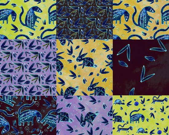 Mix & Match Midnight Wonderbeast Designer Fabric - Whimsical Midnight beasts, rabbits, turtles, leaves, dots and swirls on tone on tone to mix & match. Perfect for tabletop, bedding, pillows, children's and more.