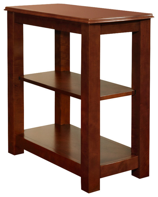 Cherry Black Modern Wood Chair Side Accent Table Storage Shelf Shelves Cherry Contemporary