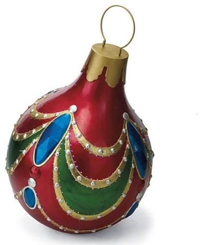 Giant jeweltone fiber optic ornament outdoor christmas for Giant outdoor christmas decorations