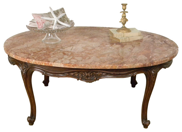 1940 Vintage Louis XV Style Marble Top Coffee Table
