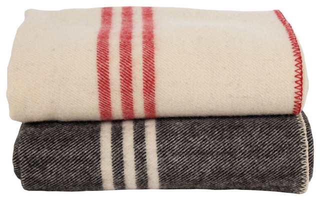 Coyuchi striped wool blankets traditional-bedding