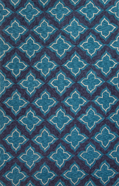 Moroccan Pattern Polyester Blue Indoor Outdoor Area Rug