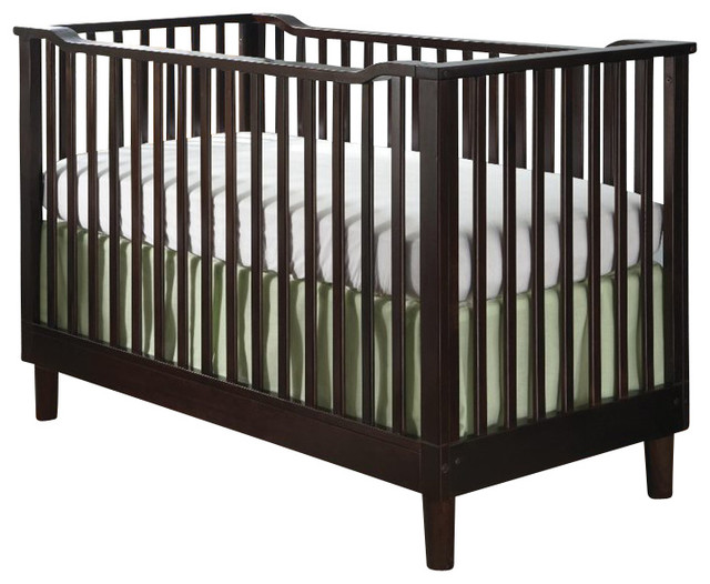 Stork Craft Santino 3-in-1 Fixed Side Convertible Crib in Espresso transitional-cribs