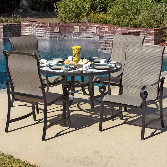 person sling patio dining set with glass top table modern dining