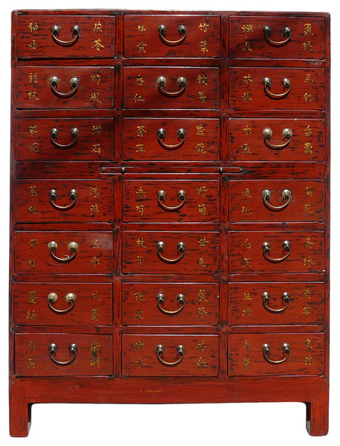 Chinese Rustic Red Lacquer Medicine Apothecary Cabinet - Asian - China Cabinets And Hutches - by ...