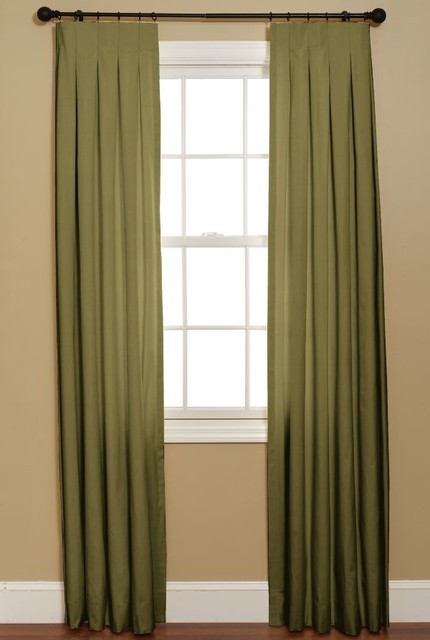 Pleated Curtains For Curtain Box : Inverted Box Pleat Curtain, Duiponi Leaf - Traditional - Curtains - by ...