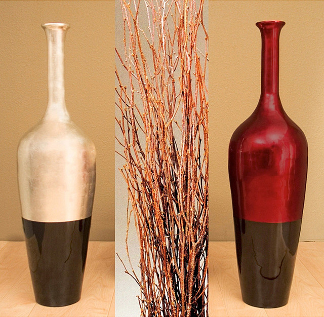 lacquered floor vase with birch branches contemporary