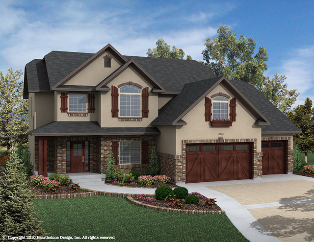 Two story traditional exterior elevation salt lake for 2 story lake house