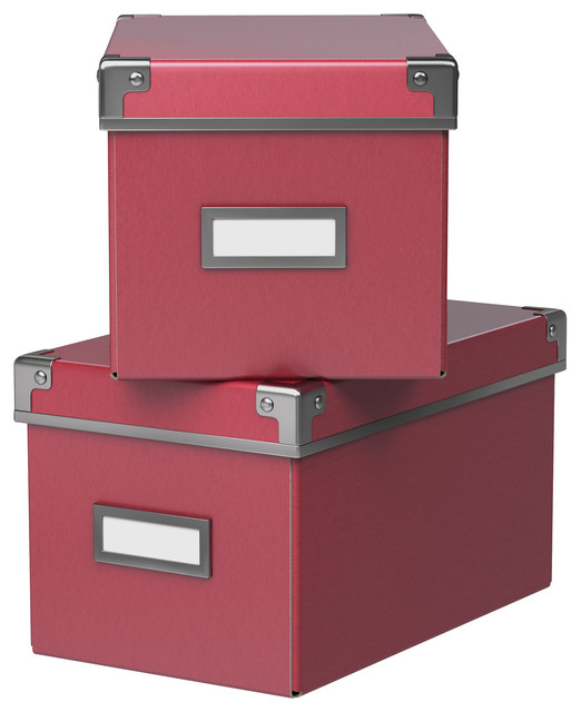 Kassett Box With Lid, Dark Pink - Contemporary - Storage Bins And Boxes - by IKEA