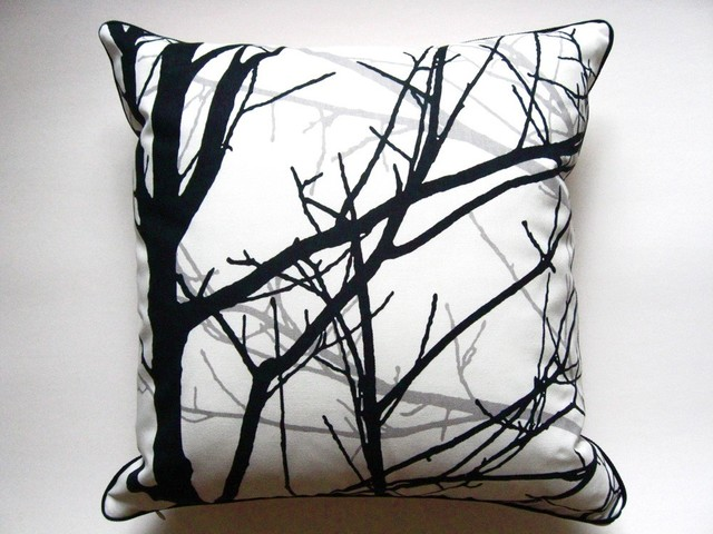 Branches in Black Pillow by Designed by Annabelle modern-decorative-pillows