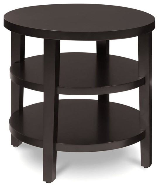 multiple shelf contemporary round end table in espresso. Black Bedroom Furniture Sets. Home Design Ideas