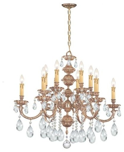 Crystorama 2512-OB-CL-MWP Ornate Cast Brass Chandelier Accented with Hand Cut Cr chandeliers