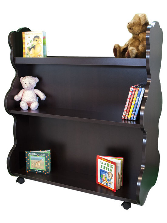 Mobile Baby Bookcase - Mobile Double Sided Bookcase Bear Espresso Wenge: This adorable mobile child's bookcase is perfect for to store all your child's favorite books and toys for years to come. The sylish design and wheels on the bottom make the  bookcase chic yet functional enough for any trendy home.