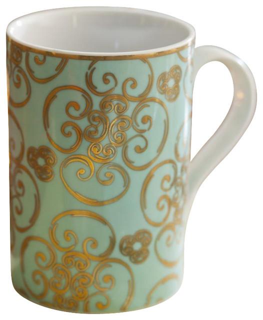 Arabesque Set of 4 Porcelain Mugs traditional-serveware