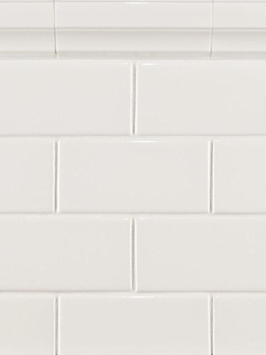 "Ceramic - ANN SACKS Capriccio 3"" x 6"" ceramic field and 2-1/4"" x 6"" classic molding in white gloss"