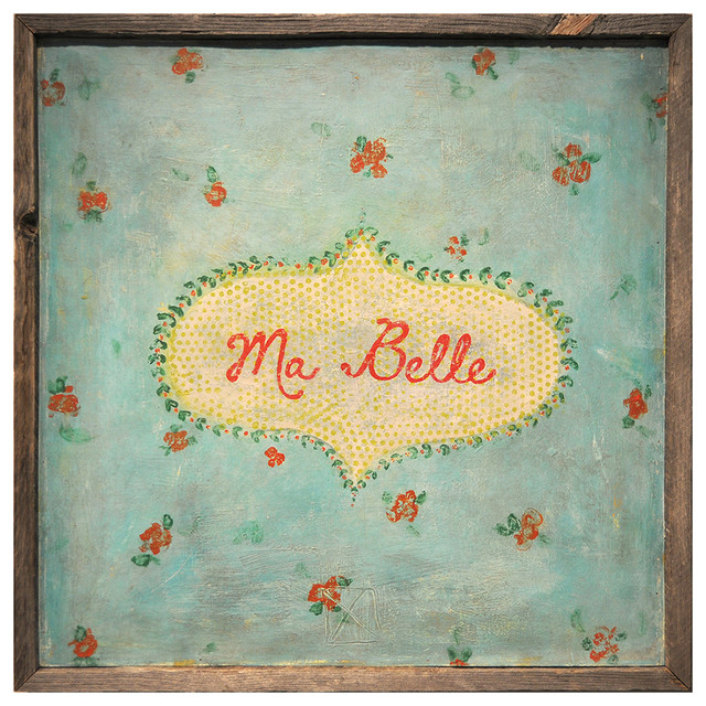Ma Belle' Turquoise Red Painted Vintage Wall Art transitional-prints-and-posters