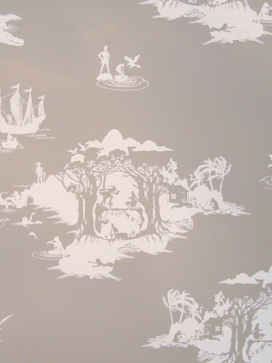 Peter Pan Wallpaper, White on Slate -