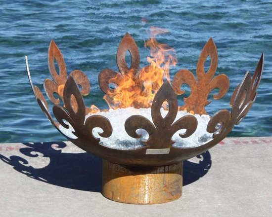 Fiery Fleur-de-Lis 37 inch Sculptural Firebowl - The Fiery Fleur-de-Lis Modern Firebowl is a tour de force in fire and steel that adds a regal flair to any setting. Whether you are hosting an intimate gathering of your inner circle, plotting an award winning landscape design or seeking an intriguing focal point for a trendy new French Bistro, bring a touch of royal elegance to your outdoor setting with the Fiery Fleur-de-Lis. Leaping from the coals you can clearly see the fiery steed of a chevalier manifesting the ancient symbolism of faith, wisdom and chivalry associated with this design.
