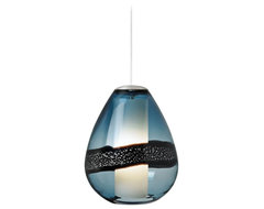 "LBL Miyu Steel Blue and Satin Nickel 10"" Wide Pendant Light contemporary pendant lighting"