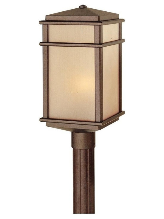 Feiss - Feiss Mission Lodge 1-Light Corinthian Bronze Amber Ribbed Glass Post Light - This 1-Light Post Light is part of the Mission Lodge Collection and has a Corinthian Bronze Finish and Amber Ribbed Glass. It is Outdoor Capable.
