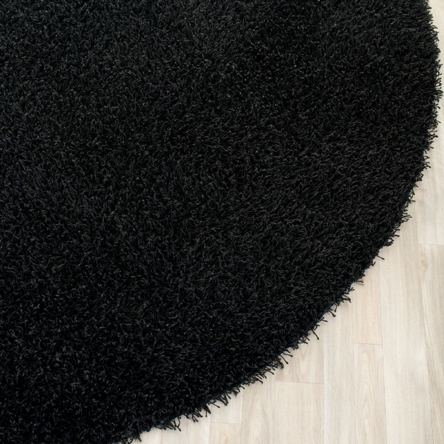 Shag Shag Round 5 39 Round Black Area Rug Modern Rugs