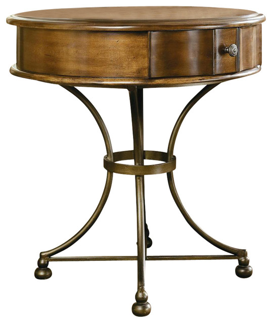 Siena Round Storage End Table Contemporary Side Tables