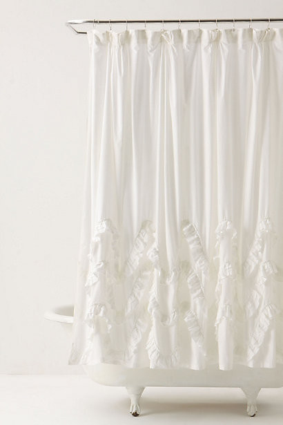 Waves Of Ruffles Shower Curtain contemporary-shower-curtains