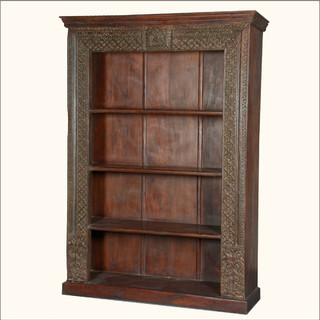 Late Gothic Reclaimed Wood 4-Shelf Open Display Bookcase ...