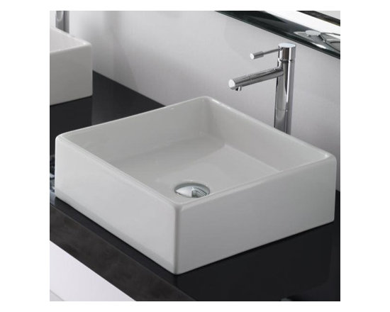 "Square Vessel Bathroom Sink By Scarabeo - Square vessel sink made of white ceramic. This beautiful modern sink is made and designed in Italy. Sink dimensions: 15.2"" x 15.2"" x 5.1"""