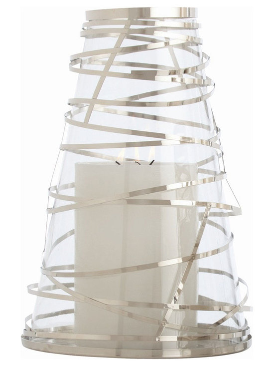 Arteriors Home - Tory Hurricane - Tory Hurricane is a glass candle holder wrapped in ribbons of steel in a Polished Nickel finish. 11.5 inch diameter x 17 inch height.