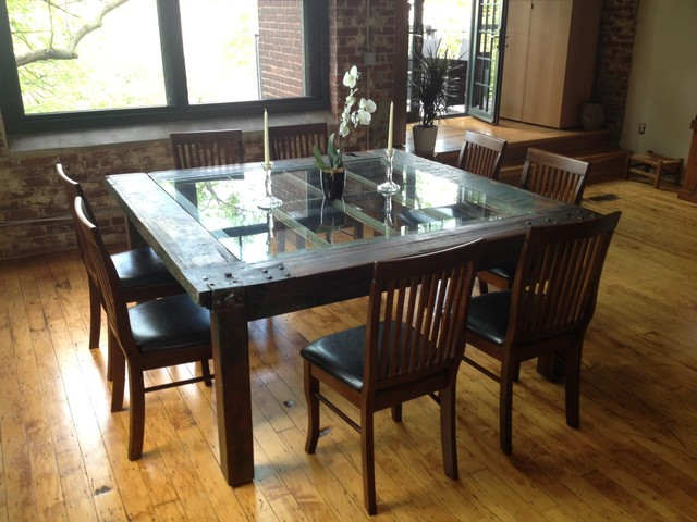 Blacksmith Dining Table ... & Dining Room Table Made From An Old Door Old Stuff Dining Table ... pezcame.com
