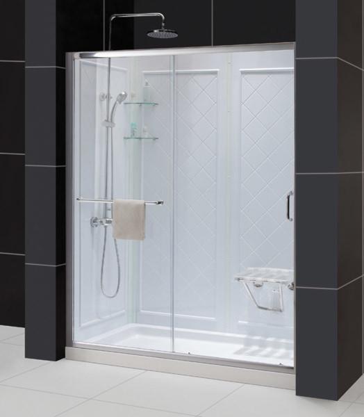 infinity z frameless sliding shower door 32x60 shower base qwall backwall kit traditional. Black Bedroom Furniture Sets. Home Design Ideas