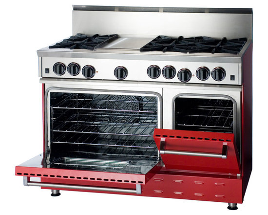 """48"""" BlueStar RNB Gas Range - Signal Red (RAL 3001) 48"""" Range has 6 Top Burners with Griddle showing one of the different ways the oven doors can open."""