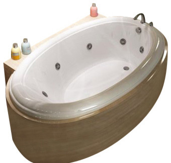 Atlantis tubs 3660pwr petite 36x60x23 inch oval whirlpool for Oval garden tub