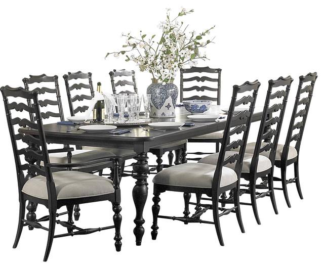 Homelegance jackson park 9 piece dining room set in black for Traditional black dining room sets