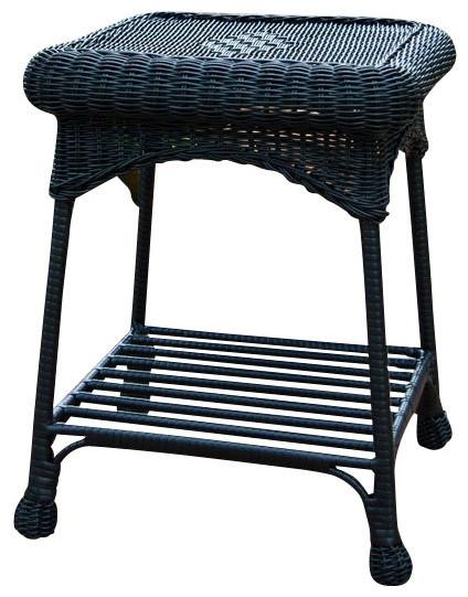 Outdoor Black Wicker Patio End Table contemporary-outdoor-tables