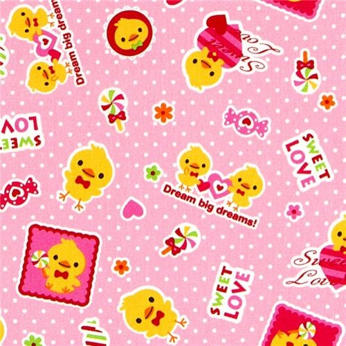 Cute fabric with yellow chick heart by kokka from japan for Yellow nursery fabric