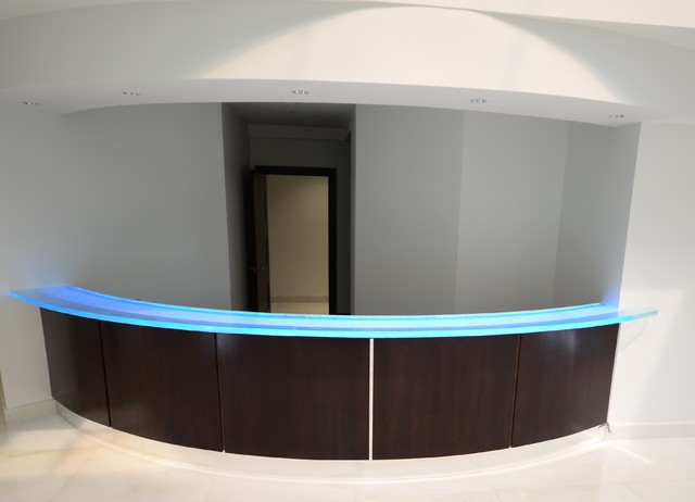 Glass Reception Desk Modern Tampa By Downing Designs Com